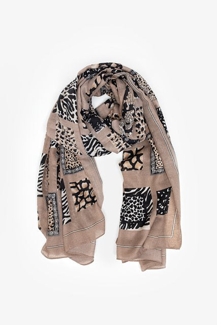 Animal Print Blocks Scarf