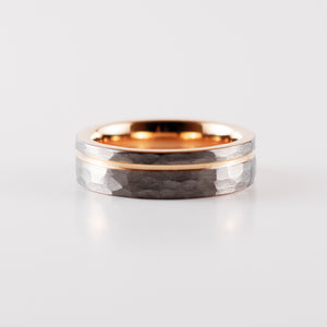 Load image into Gallery viewer, Rose Gold Stripe - Silver Hammered Band