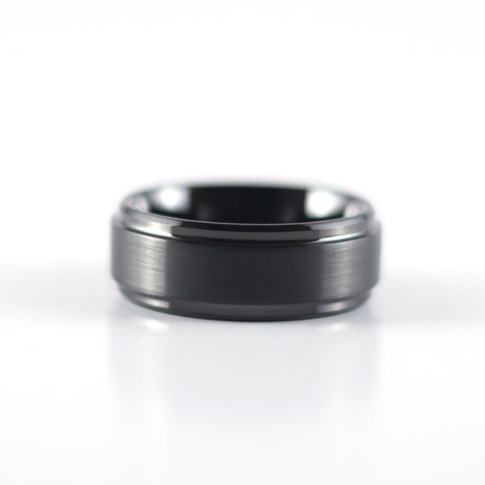 Tungsten Carbide Ring - Black Beveled Band - 8mm