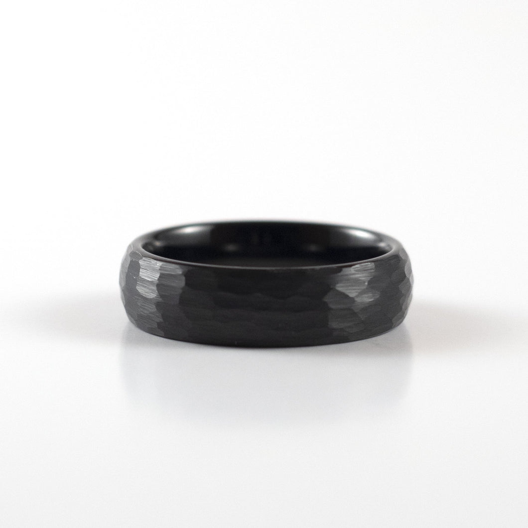 Tungsten Carbide Ring - Black Rounded & Hammered Band - 6mm