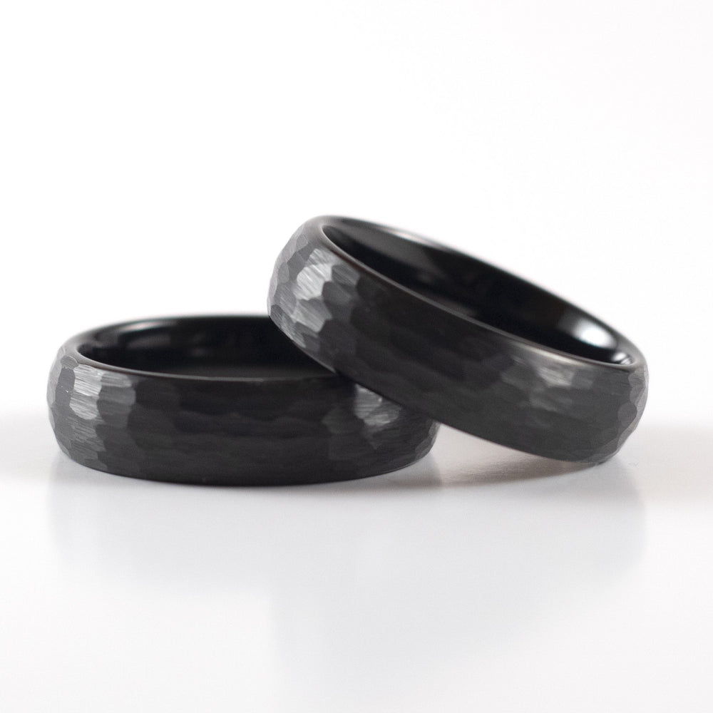 Load image into Gallery viewer, Tungsten Carbide Ring - Black Rounded & Hammered Band - 6mm