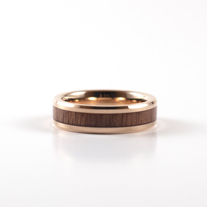 Tungsten Carbide Ring - Koa Wood Inlay - Rose Gold Band - 6mm