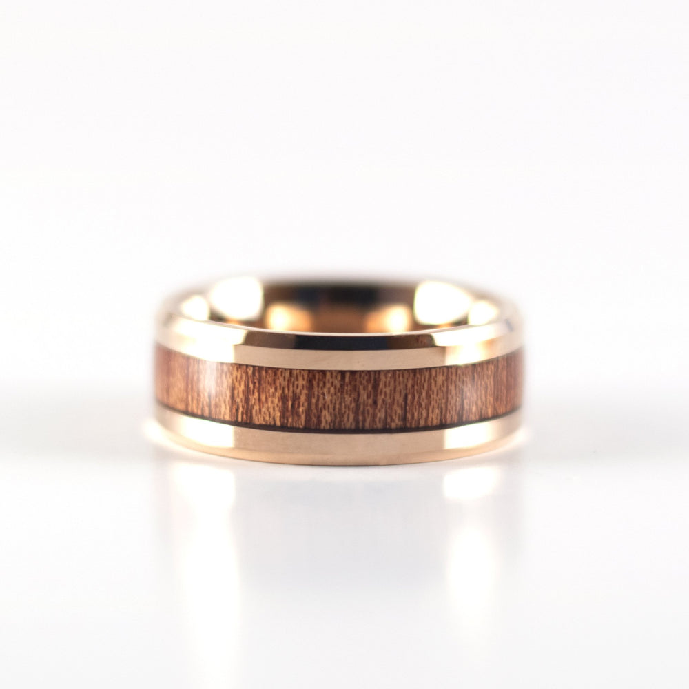 Tungsten Carbide Ring - Koa Wood Inlay - Rose Gold Band - 8mm