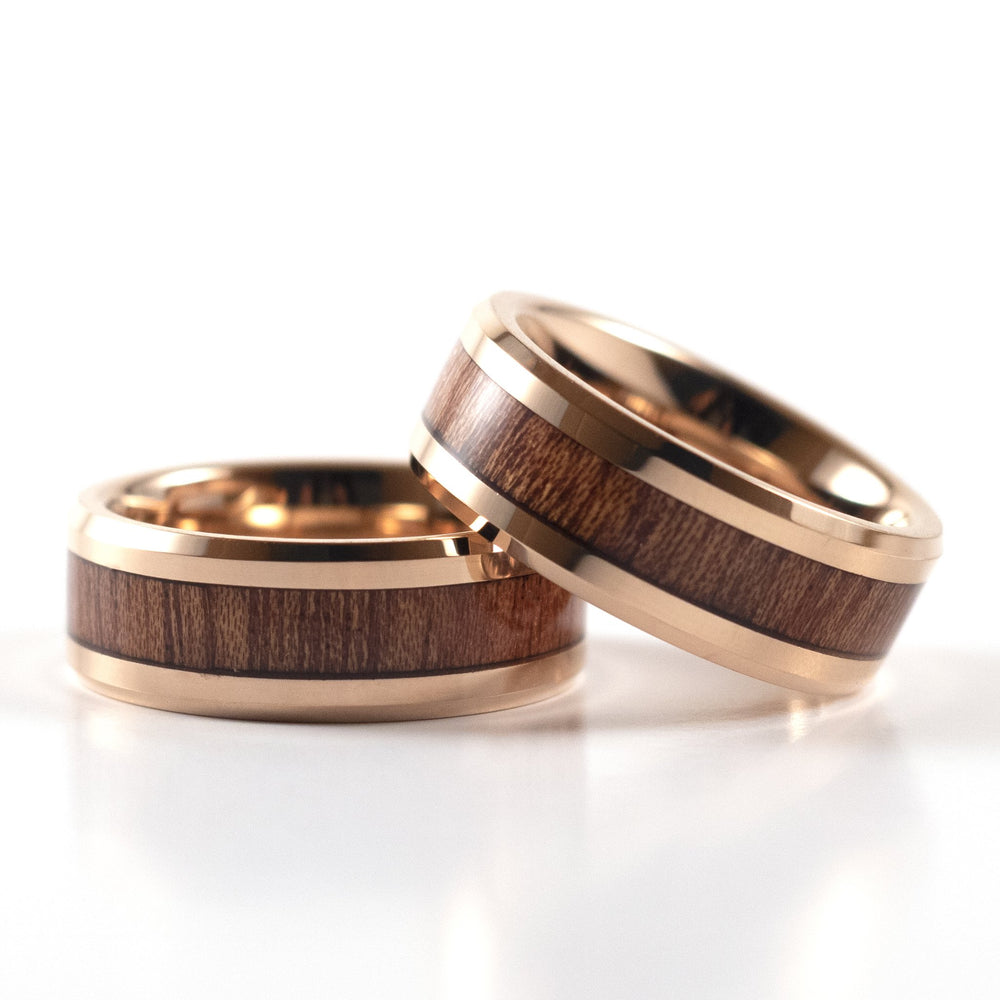 Load image into Gallery viewer, Tungsten Carbide Ring - Koa Wood Inlay - Rose Gold Band - 8mm