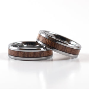 Tungsten Carbide Ring - Koa Wood Inlay - Silver Band - 6mm