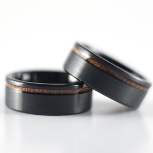 Tungsten Carbide Ring - Koa Wood Stripe - Black Band - 8mm