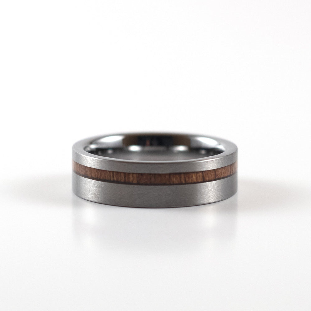 Tungsten Carbide Ring - Koa Wood Stripe - Silver Band - 6mm