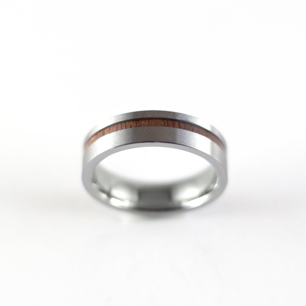 Load image into Gallery viewer, Tungsten Carbide Ring - Koa Wood Stripe - Silver Band - 6mm