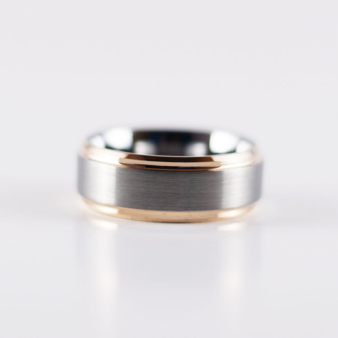Tungsten Carbide Ring - Rose Gold Bevel - Silver Beveled Band - 8mm