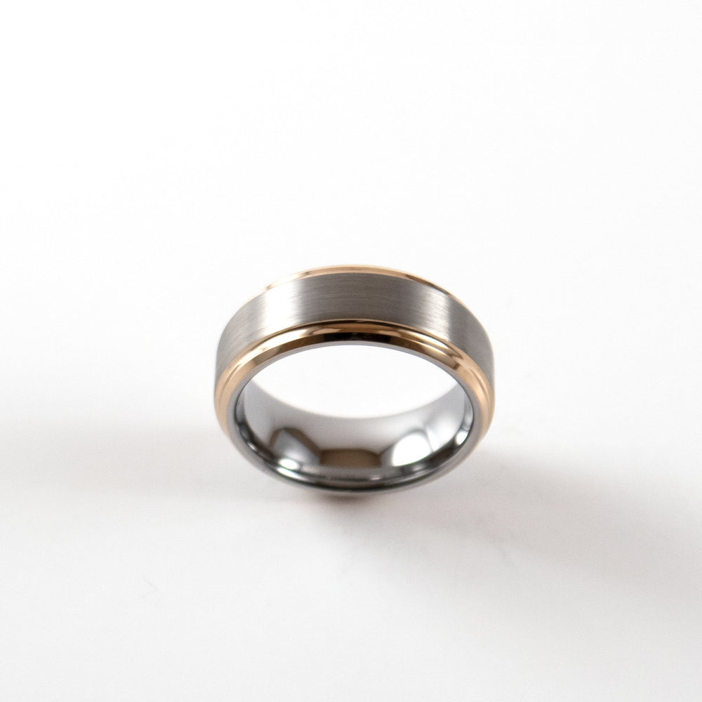 Load image into Gallery viewer, Tungsten Carbide Ring - Rose Gold Bevel - Silver Beveled Band - 8mm