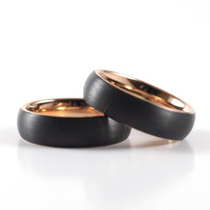Tungsten Carbide Ring - Rose Gold Interior - Black Rounded Band - 6mm