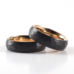 Tungsten Carbide Ring - Rose Gold Interior - Black Rounded & Hammered Band - 6mm