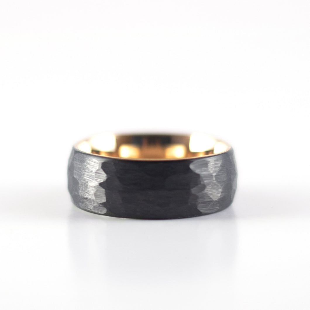 Tungsten Carbide Ring - Rose Gold Interior - Black Rounded & Hammered Band - 8mm