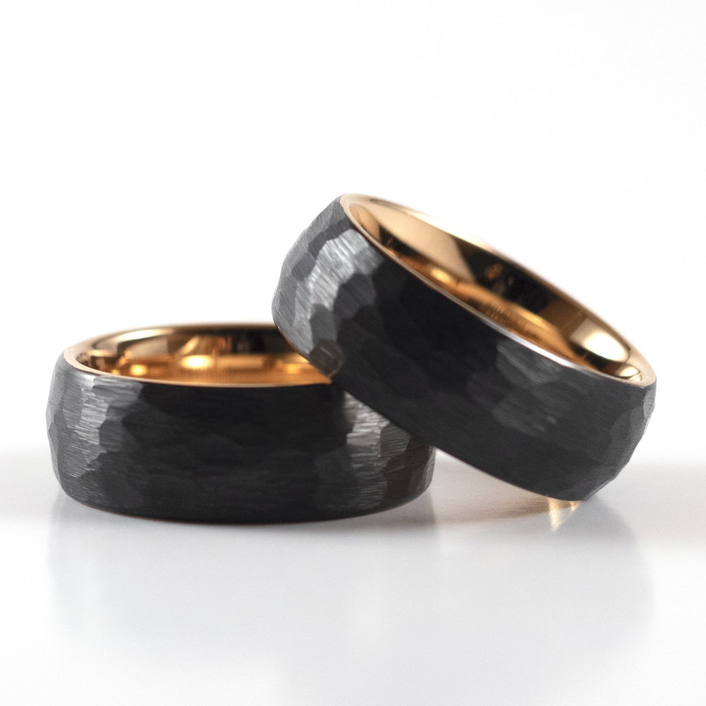 Load image into Gallery viewer, Tungsten Carbide Ring - Rose Gold Interior - Black Rounded & Hammered Band - 8mm