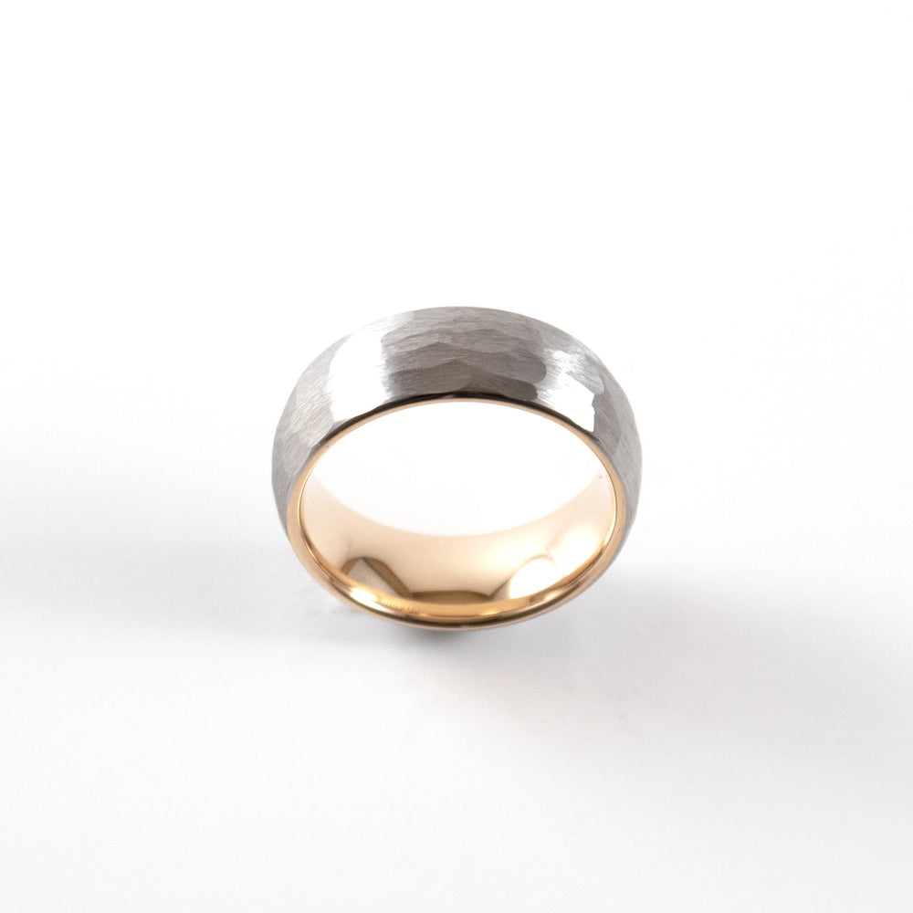 Load image into Gallery viewer, Tungsten Carbide Ring - Rose Gold Interior - Silver Rounded & Hammered Band - 8mm