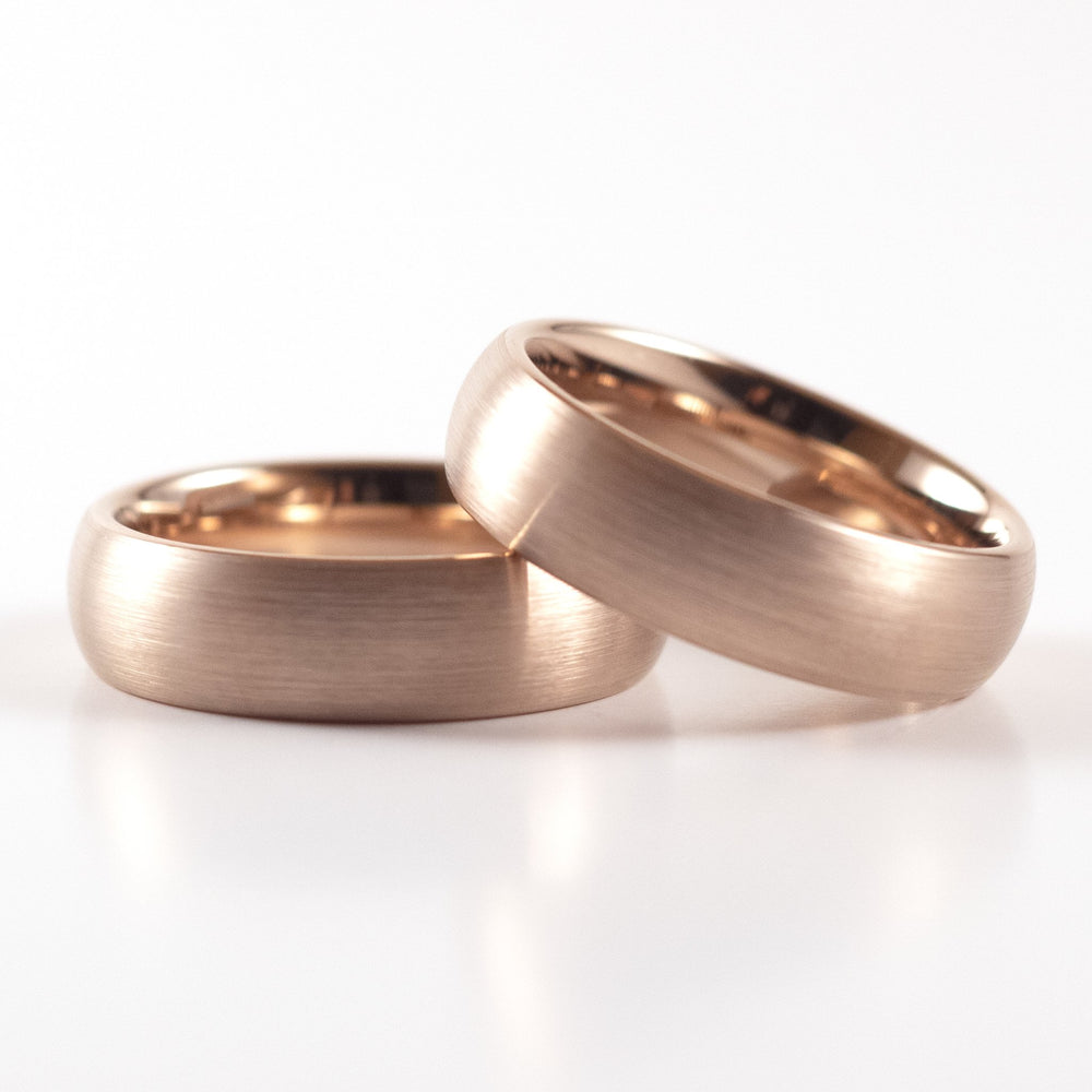 Tungsten Carbide Ring - Rose Gold Rounded Band - 6mm