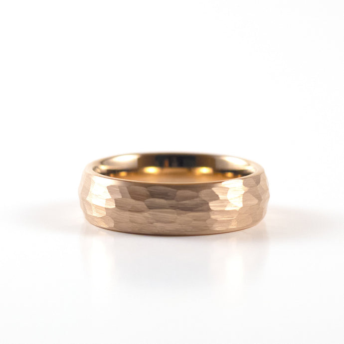 Tungsten Carbide Ring - Rose Gold Rounded & Hammered Band - 6mm