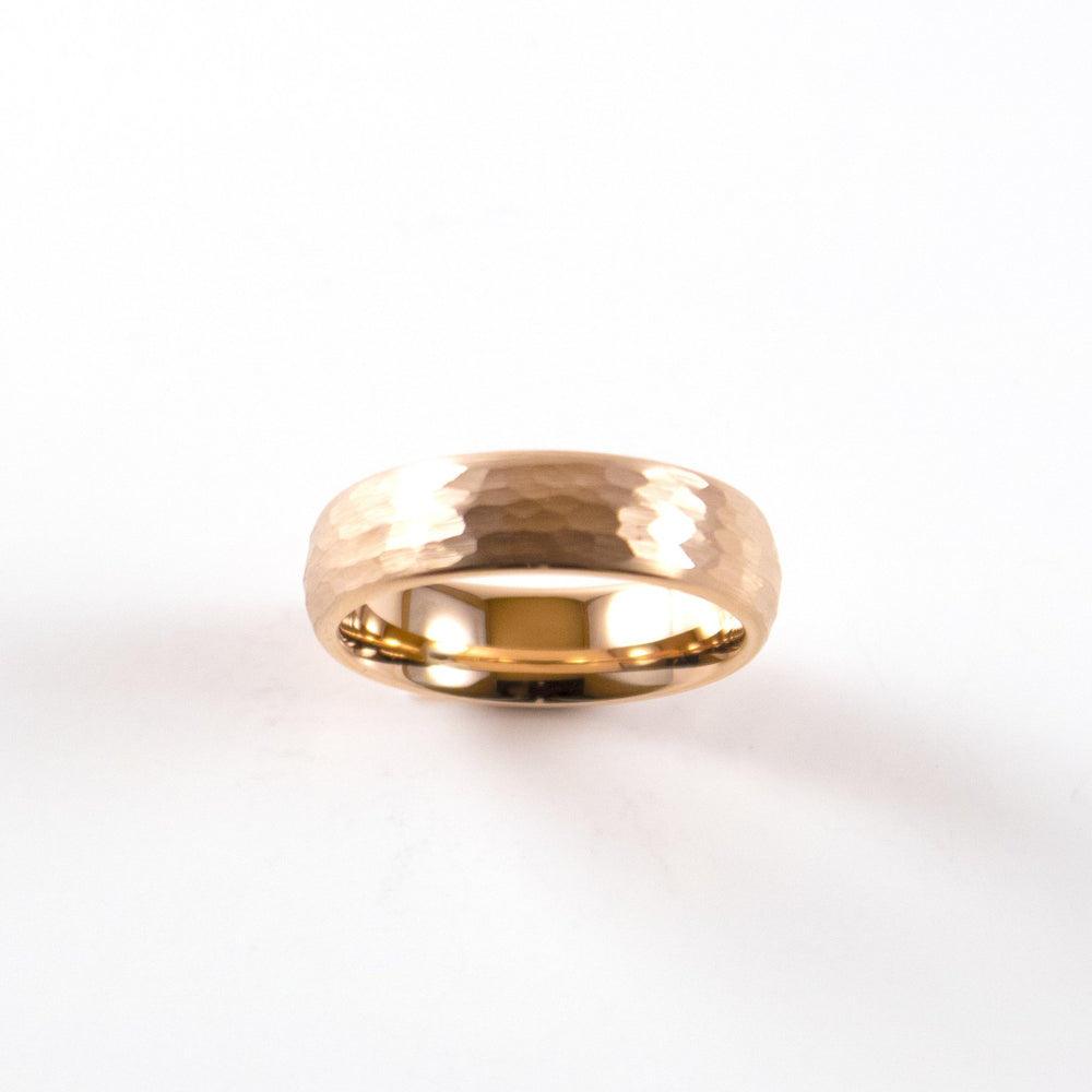 Load image into Gallery viewer, Tungsten Carbide Ring - Rose Gold Rounded & Hammered Band - 6mm