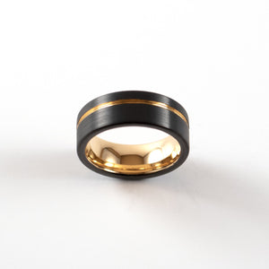 Load image into Gallery viewer, Tungsten Carbide Ring - Rose Gold Stripe - Black Band - 8mm