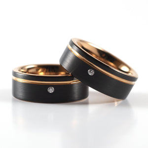 Tungsten Carbide Ring - Rose Gold Stripe - Black Band With CZ Diamond - 8mm