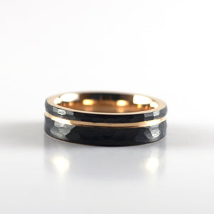 Tungsten Carbide Ring - Rose Gold Stripe - Black Hammered Band - 6mm