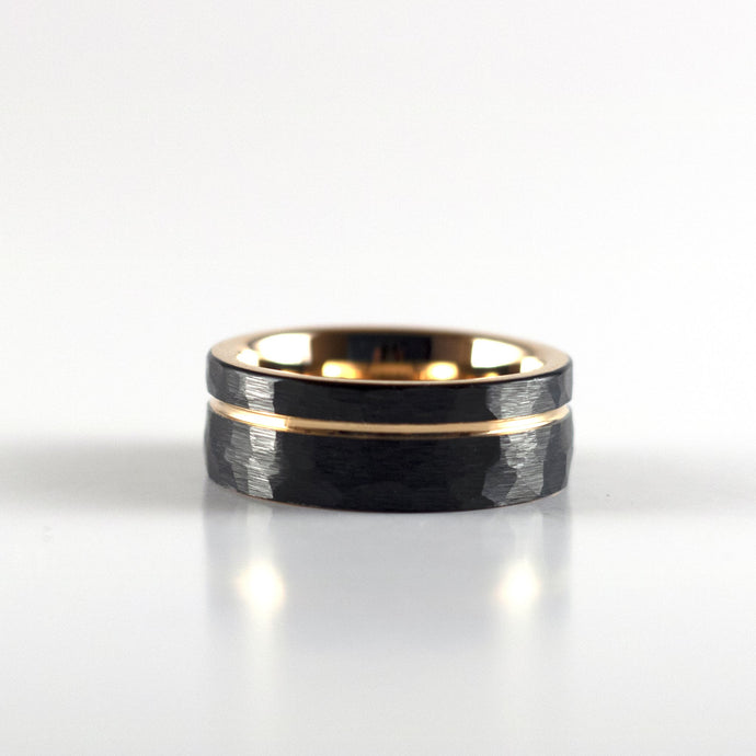 Tungsten Carbide Ring - Rose Gold Stripe - Black Hammered Band - 8mm