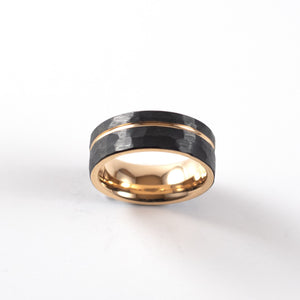 Load image into Gallery viewer, Tungsten Carbide Ring - Rose Gold Stripe - Black Hammered Band - 8mm