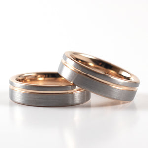 Tungsten Carbide Ring - Rose Gold Stripe - Silver Band - 6mm