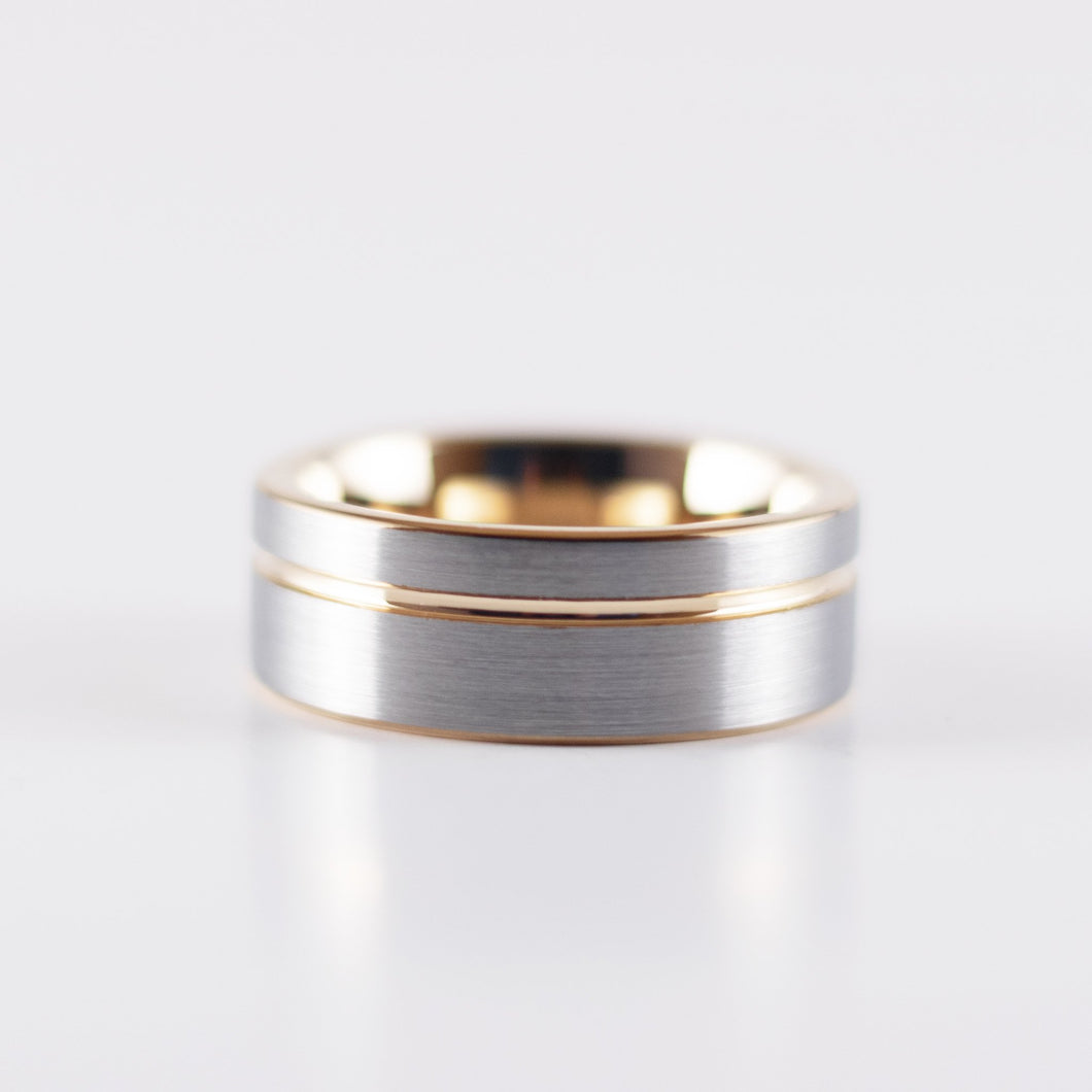Tungsten Carbide Ring - Rose Gold Stripe - Silver Band - 8mm