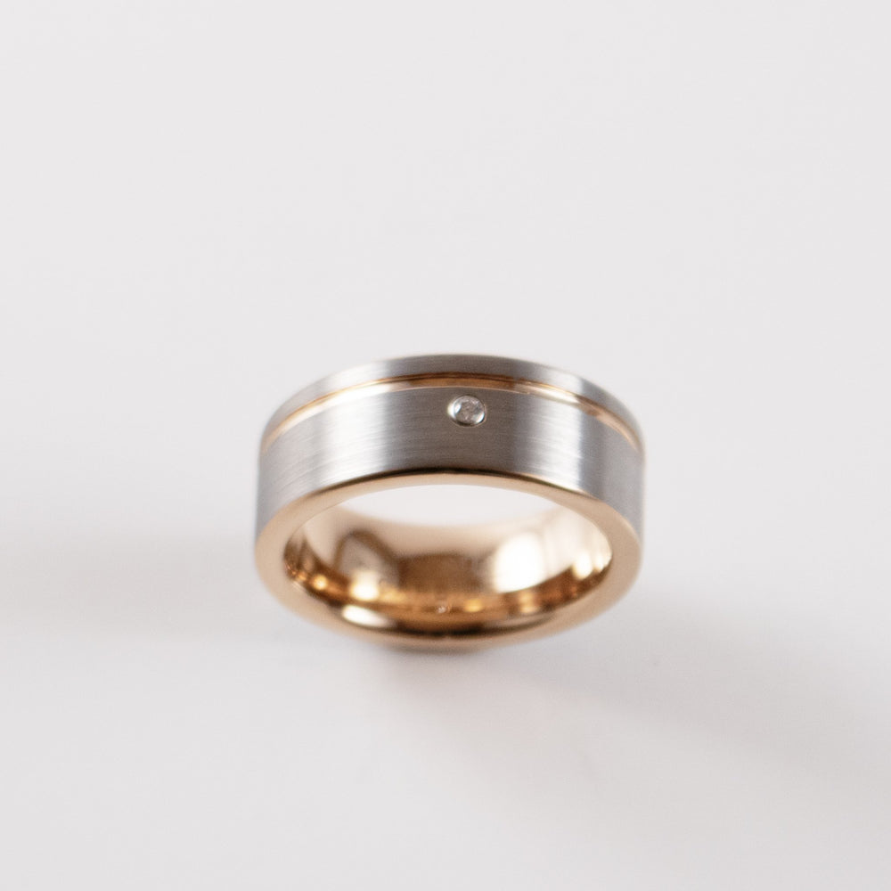 Load image into Gallery viewer, Tungsten Carbide Ring - Rose Gold Stripe - Silver Band With CZ Diamond - 8mm