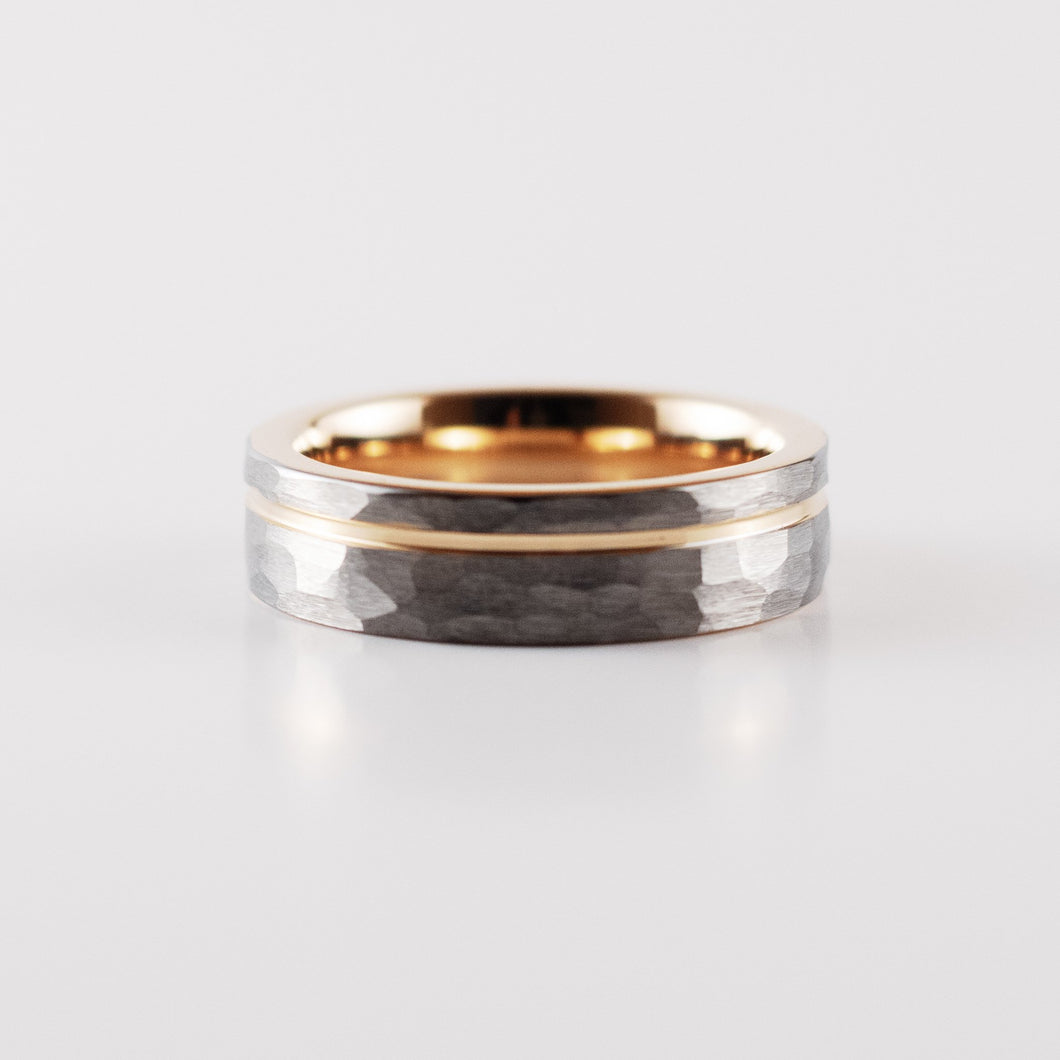 Tungsten Carbide Ring - Rose Gold Stripe - Silver Hammered Band - 6mm