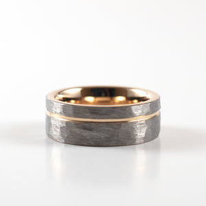 Load image into Gallery viewer, Tungsten Carbide Ring - Rose Gold Stripe - Silver Hammered Band - 8mm