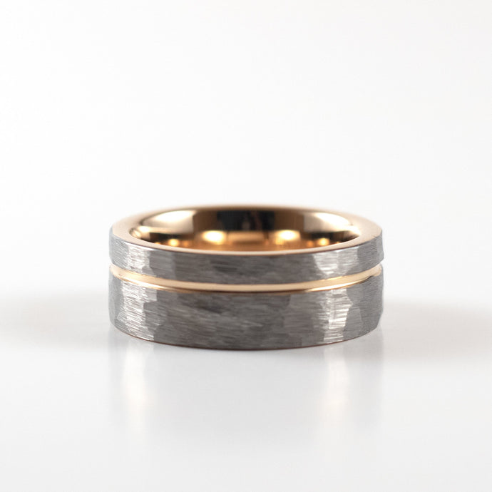 Tungsten Carbide Ring - Rose Gold Stripe - Silver Hammered Band - 8mm
