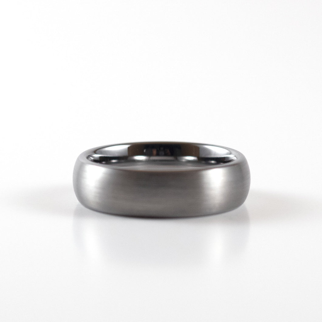 Tungsten Carbide Ring - Silver Rounded Band - 6mm