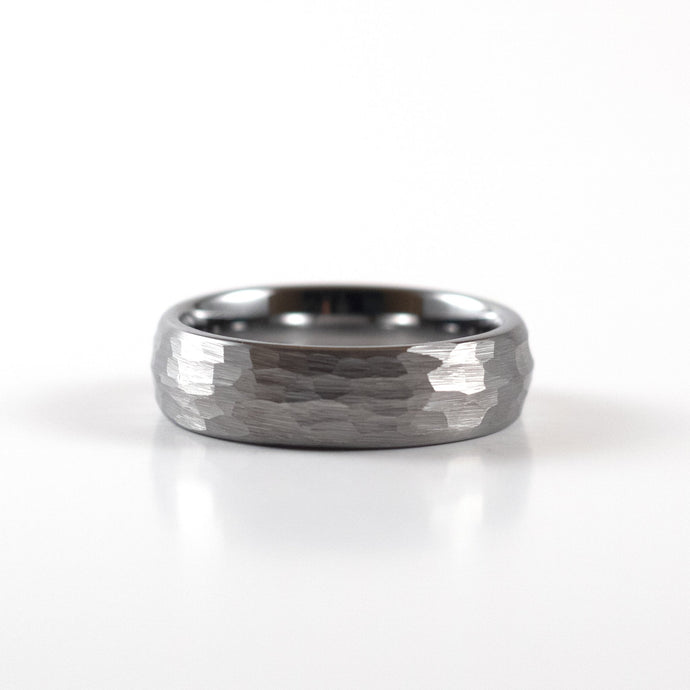 Tungsten Carbide Ring - Silver Rounded & Hammered Band - 6mm