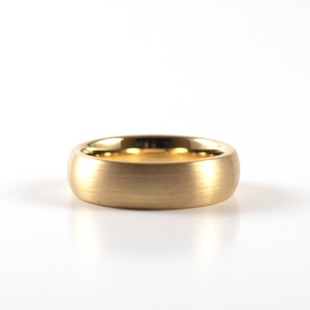 Tungsten Carbide Ring - Yellow Gold Rounded Band - 6mm