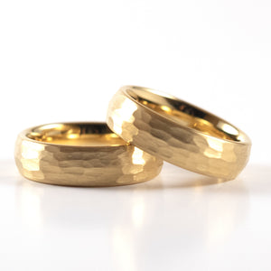 Tungsten Carbide Ring - Yellow Gold Rounded & Hammered Band - 6mm