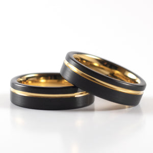Tungsten Carbide Ring - Yellow Gold Stripe - Black Band - 6mm