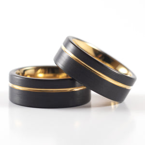 Tungsten Carbide Ring - Yellow Gold Stripe - Black Band - 8mm