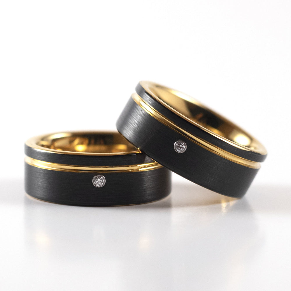 Tungsten Carbide Ring - Yellow Gold Stripe - Black Band With CZ Diamond - 8mm