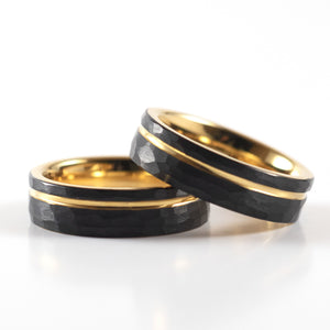 Tungsten Carbide Ring - Yellow Gold Stripe - Black Hammered Band - 6mm