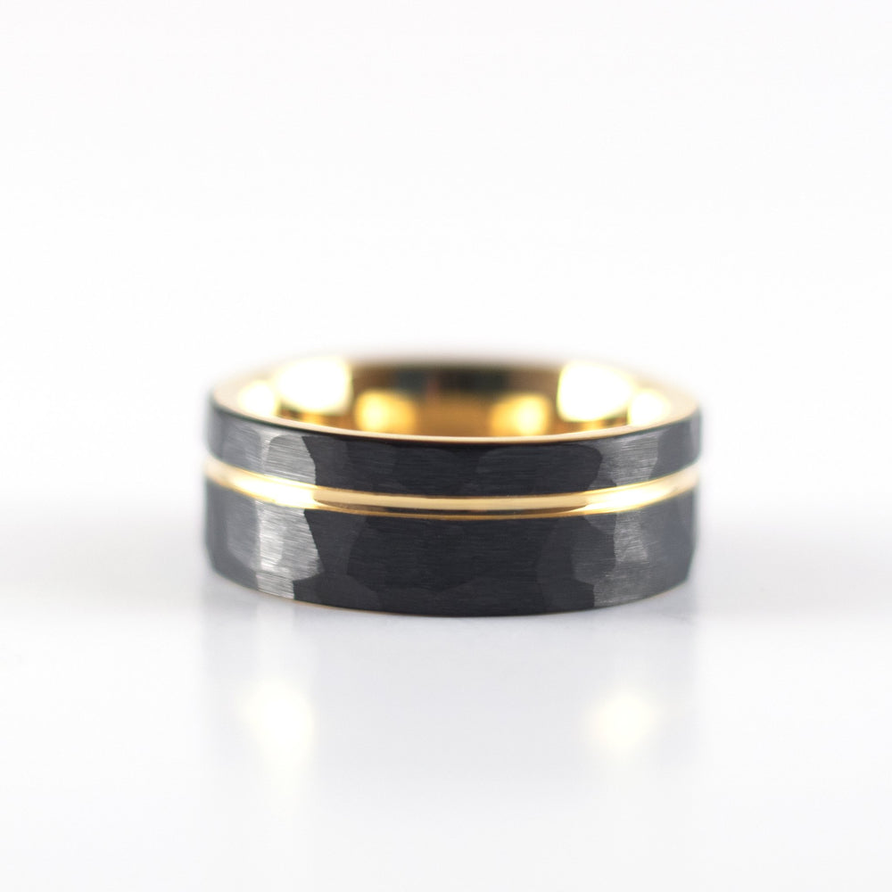 Tungsten Carbide Ring - Yellow Gold Stripe - Black Hammered Band - 8mm
