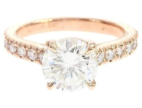 14K Rose Gold Diamond Engagement Ring 65076 1.85ct