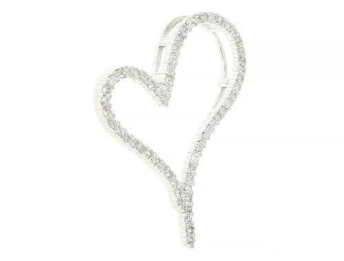 14K White Gold Diamond Heart Pendant 0.48ct