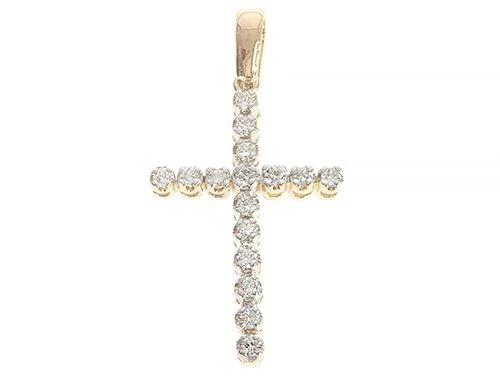 14K Yellow Gold Diamond Cross 65301 0.24ct