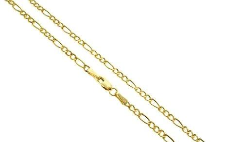 14K Yellow Gold Semi-Hollow Figaro Link 24 Inches 1.7mm 1.7 Grams 64052