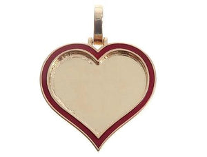 14k Yellow Gold 1 Inch Customizable Photo Heart Pendant 65043
