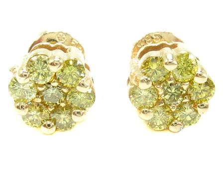 Canary Cluster Earrings 1.03ct