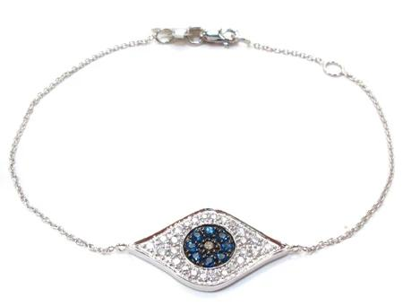 Ladies Evil Eye White Gold Two Color Diamond Bracelet 21296 0.31ct