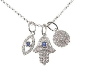 Small White Gold Hand Evil Eye Diamond Necklace 64478 0.28ct